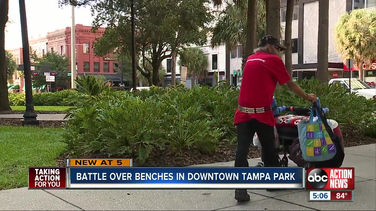 Battle over benches in downtown Tampa park