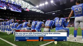 Detroit Lions players take a knee during national anthem - Video