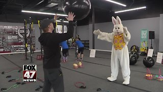 Easter Bunny preps for egg hunt