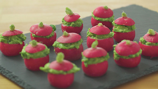 Xanthe Clay's radish canapés filled with pea guacamole - Video