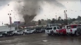 Tornado Tears Through Mayfield, Kentucky, Parking Lot - Video