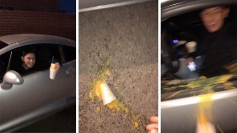 No point crying over spilt ice – Car covered in iced juice after spillage
