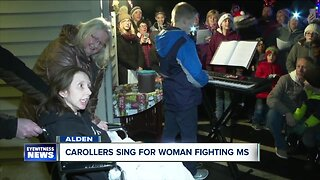 Carollers sing for woman fighting MS