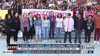 Las Vegas students join national school walkouts for gun reform - Video