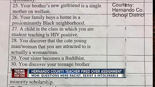 Hernando Co. teacher fired over assignment - Video