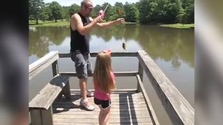 Tot Girl Gets Excited About Fishing But Runs Away When She Sees Her Prey - Video