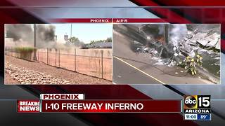 Driver escapes massive truck fire at I-10/40th Street - Video