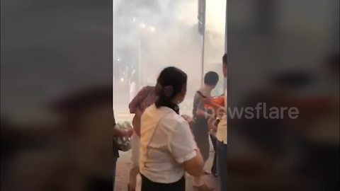 Moment bus full of passengers explodes in China's Sichuan Province