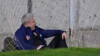 Soccer Manager Handles Comical Fall Like a Boss - Video