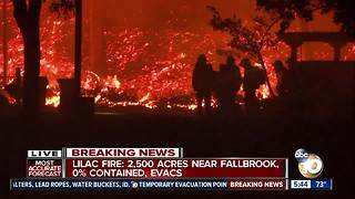 Firefighters continue battling Lilac Fire into the night - Video