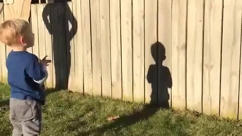EXTRA: Adorable toddler plays fetch with dog despite backyard fence