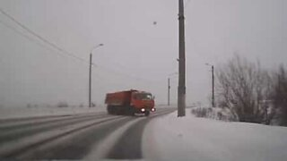 Icy roads almost cause a massive head-on crash