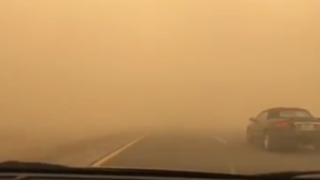 Driver Navigates Poor Visibility as Monsoon Storms Hit Arizona