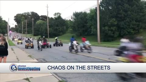 Chaos on the streets: Dozens of dirt bikes, ATVs take over city streets