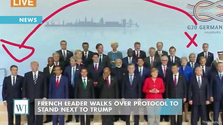 French Leader Walks Over Protocol To Stand Next To Trump - Video