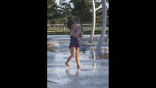 Water fountain blasts little girl right in the face