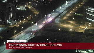 Police: one person hurt in crash on I-190 Northbound