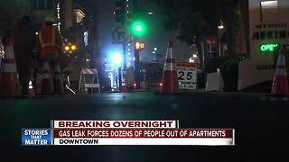 Gas leak forces downtown residents from homes - Video