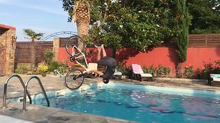 Front flip into the pool