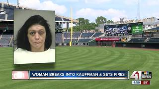 Woman arrested after allegedly starting fire in Kauffman Stadium