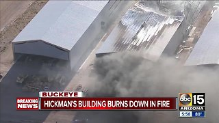 Fire destroys building at Hickman Family Farms