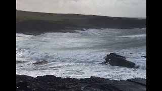 Storm Erik Churns Up Sea Around Mullaghmore on Ireland's West Coast - Video