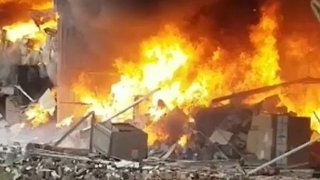 Warehouse Demolished by Flames in Manchester
