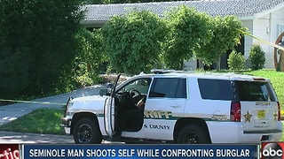 Seminole homeowner shoots himself during break in - Video