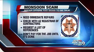 SCAM ALERT: Avoid monsoon storm-related home repair fraud - Video