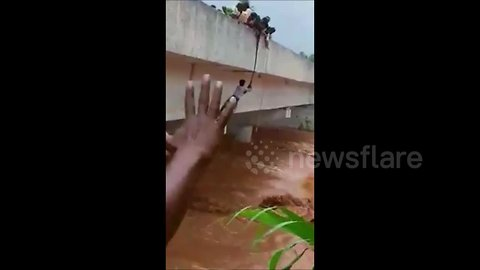 Villagers rescue man caught in flash flood in southern India