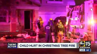 Child hurt in Christmas Tree fire in Phoenix - Video