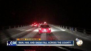 Rain, snow and hail fall across San Diego county