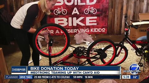 Medtronic and Can'd Aid donating bikes today