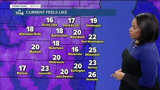 Partly cloudy Sunday with a high of 38