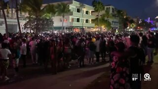 Crowds pack Ocean Drive in Miami Beach after curfew
