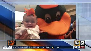 Lauren Cook's baby girl makes her debut at Camden Yards - Video