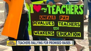 Teachers rallying for promised raises - Video