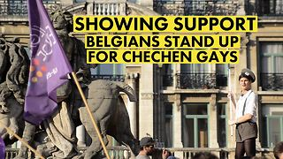 Belgians start pro Chechen LGBT protests - Video