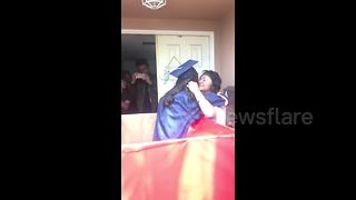 Graduation surprise: daughter skips ceremony to amaze mom - Video