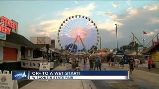 Rainy day at opening day for the Wisconsin State Fair - Video