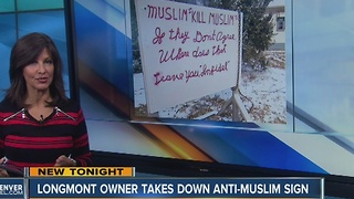 Longmont homeowner takes down anti-Muslim sign - Video