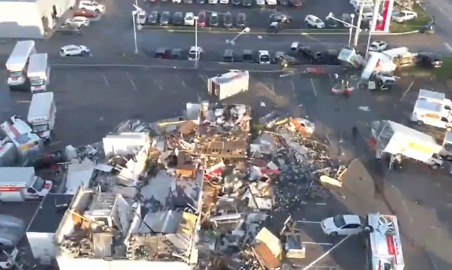 Vehicles Overturned and Buildings Damaged Following Possible Tornado in Pennsylvania