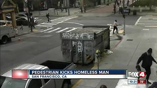 Police looking for man who kicks homeless person