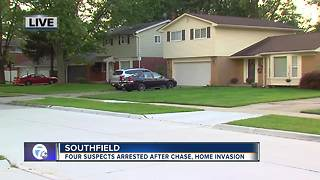 Four suspects arrested after chase, home invasion - Video