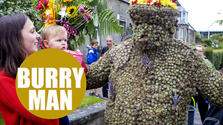 Celebrating the Burryman parade