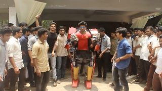Indian engineering student builds 'Iron Man' suit to combat enemies at war  - Video