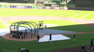 Brewers return to the field at Miller Park