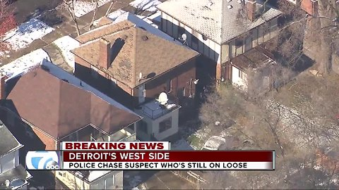 Police chase on Detroit's west side for suspect still on loose