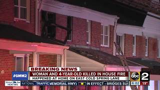 Woman, 4-year-old killed in NE Baltimore house fire - Video