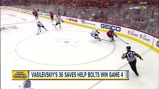 Vasilevskiy's 36 saves help Bolts beat Caps 4-2 - Video